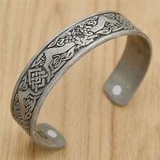 Retro Viking Celtic Cuff Bangle Bracelet Punk Men Women Gothic Silver Jewelry