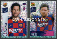 LIONEL MESSI 2 DIFFERENT GLITTER STICKERS TOPPS CHAMPIONS LEAGUE 19/20 STICKERS