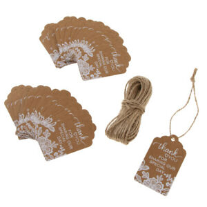 50pcs Vintage Kraft Paper Lace Flower Thank you Tags Hanging Gift Tag Labels