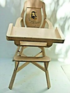 VINTAGE  BABY  / DOLL HIGH CHAIR PAINTED  PINK 1950'S DECOR MOVIE PROP