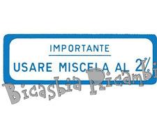 0639 TARGHETTA BLU IMPORTANTE USARE MISCELA 2% VESPA 125 ET3 PRIMAVERA