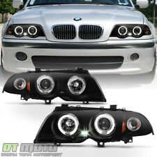Black Smoke 1999-2001 BMW E46 325i 323i 328i Sedan LED Halo Projector Headlights