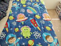 "NEW 2-ply Sherpa Baby blanket toddler Boys Girls 40""x50"" Plush SPACE ROCKET SHIP"