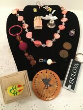 Lot of Trinkets: Necklace, Coins, Ring Bell, Ring, Pendants, Ceramic Mini Doll
