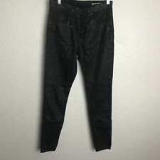 BLANKNYC Crybaby Black Hi Rise Super Slim Waxed Black Skinny Jeans Button Fly 26