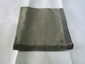 """USED GRAY WITH BLACK PLAID PATTERN COTTON 18"""" POCKET SQUARE HANDKERCHIEF FOR MEN"""