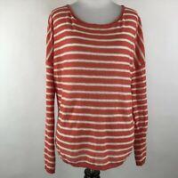 Vince Women Orange White Knit Linen Lightweight Long Sleeve Sweater Top sz M