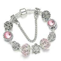 Charm Bracelet Silver Plated Crystal Pandora Bracelets Women
