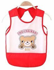 Apron Bibs Girls Waterproof Feeding Baby Toddler kids Art Smock Red