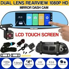 7 Inch 1080P FHD IPS Touch Screen Dual Lens Car DVR With Rear View Mirror HD 108