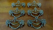 ANTIQUE METAL DRAWER HANDLES PULLS VICTORIAN LOT OF 6 FURNITURE ACCESSORIES