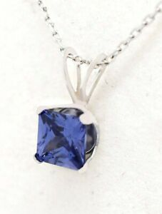 AAA TANZANITE 0.76 Cts PENDANT 14K WHITE GOLD *** New With Tag ***Free Chain**