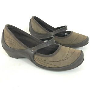 CROCS Brown Suede Mary Jane Clogs Womens Size 11 Slip On
