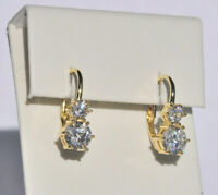 Echt 925 Sterling Silber Ohrringe Ohrhänger Zirkonia crystal gelbgold  Nr 428