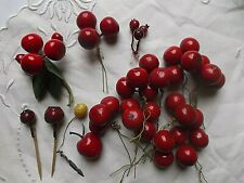 Lot Vintage Millinery Fruits Lacquered Cherries Apple Berries Lemon