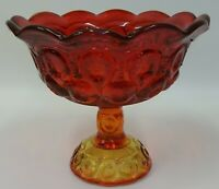 LE Smith Glass Amberina Moon & Stars Large Candy Compote Dish