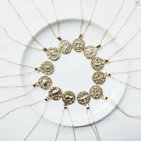 Chic Gold Chain Necklace 12 Constellation Ancient Zodiac Round Pendant Jewelry