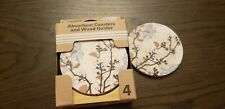 Beautiful Absorbent Stone Coasters Set In Wooden Holder, Set of 4 Easy To Clean