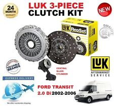 FOR FORD TRANSIT 2.0 Di 2002-2006 LUK CLUTCH KIT 3 PIECE with SLAVE CYLINDER