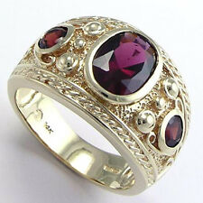 Etruscan Byzantine Style Men'S Garnet Ring 14k Solid Yellow Gold 12.5 sz