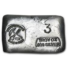 3 oz Prospector's Gold & Gems Silver Bar - Poured Bar - SKU #64178