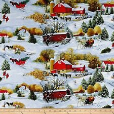 Christmas Fabric - Let It Snow Horse Barn Farm House - Blank Quilting YARD
