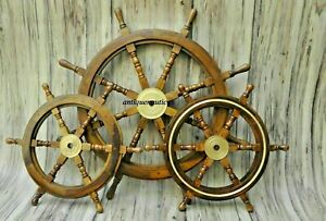 "Nautical Wooden Ship Steering Wheel Pirate Set Of 3 (36"" & 24*24"") Décor gift"