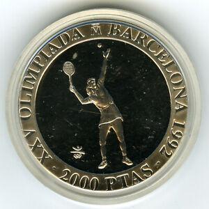 ☆ SPAIN 1991 ☆ SILVER 2000 PTS • BARCELONA'92 OLYMPICS • TENNIS • PROOF ☆ ☆C3508