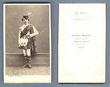 Bellon Camille, homme en kilt CDV, Vintage albumen  Carte de Visite, Tirage al