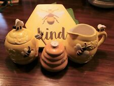 Honeybee Sunny Yellow Creamer, Sugar Jar and Honey Pot