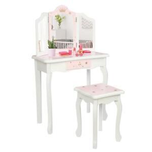 Girls Vanity Makeup Kids Dressing Table Set w/Stool Drawer & Mirror Jewelry Wood
