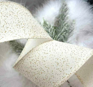 1m x 63mm WIRED CHRISTMAS RIBBON  Fine Grosgrain  IVORY CREAM WITH GOLD SPARKLE