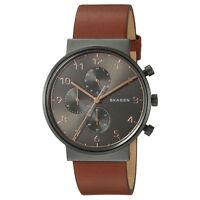 Skagen Original SKW6418 Men's Ancher Gray Dial Brown Leather Watch Chrono