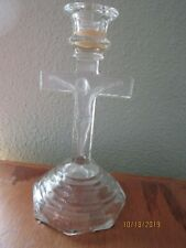 """CRUIFIX CROSS JESUS Clear Glass  7 1/2"""" tall Candle Holder  Antique Vintage"""