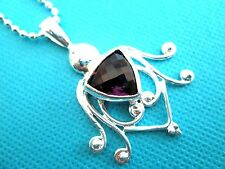 "Lovely Silver Natural Amethyst Stylish Pendant On An 18"" Chain (nk0493)"