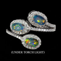 Unheated Oval Fire Opal Rainbow Full Flash 6x3mm Cz 925 Sterling Silver Ring