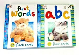 Lot of 2 DK Large First Words and ABC 25 Flash Cards each