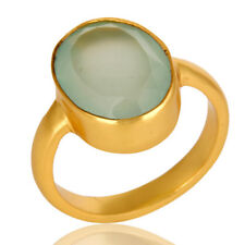 Aqua Chalcedony 14K Gold Plated Brass Fashion Ring Jewelry For Women's