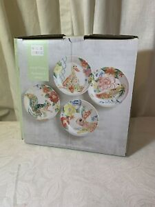 Pier 1 Imports Salad Plate Set Panterly Critters Watercolor Hello Spring New