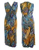 fed49c30709 Womens New Multi Print V Neck Maxi Dress 53 Inches Long Blues Orange Various