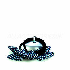 2 Pack Navy Gingham Hair Bobbles Elastics with Bow Girls Back To School