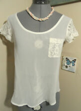 Nwt WET SEAL Chiffon top XS Ivory Lace sleeve scoop Fall Dress Blouse w/pocket