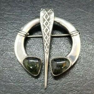 Vintage Connemara Marble and Sterling Silver Irish Celtic Penannular Pin Brooch