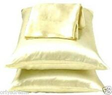 "KING -TWO SOFT ""SILKY"" SATIN / SATEEN PILLOW CASE / COVER - BEIGE COLOR (1 PAIR)"