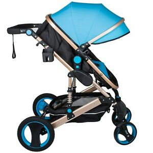 2 in 1 Portable Baby Stroller Anti-Shock Springs Foldable Luxury Buggy Blue
