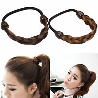Women Girls Braided Faux Wig Elastic Rope Plaited Hair Band Headband Accessories