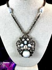 MIRIAM HASKELL SILVER CHAIN NECKLACE FAUX PEARL ART GLASS BEAD ORNATE PENDANT