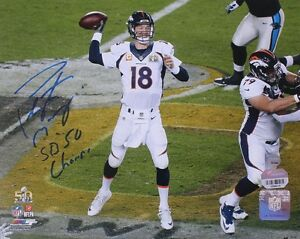 PEYTON MANNING Signed / Inscribed SB 50 Action 8 x 10 Photograph STEINER