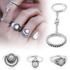5pcs/Set Silver Boho Women Stack Plain Above Knuckle Ring Midi Finger Tip Rings