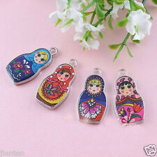 5Pcs Two-Sided Enamel Matryoshka Russian Doll Charms Necklace Pendant 27X14mm